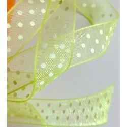 Organzanauha, pilkku, vihreä, leveys 10 mm