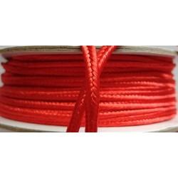 Punottu satiininyöri, punainen, leveys 3 mm (3 metriä)