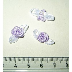 Pieni satiiniruusu + lehdet, lila-valkoinen (10 kpl)