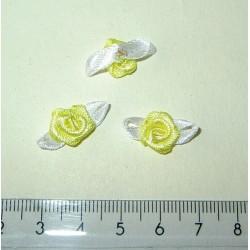 Pieni satiiniruusu + lehdet, kelta-valkoinen (10 kpl)