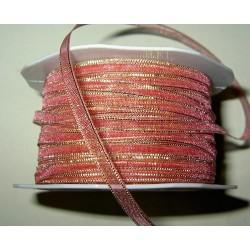 <b> Organzanauha, leveys 5 mm, kultaraita vanha roosa</b>