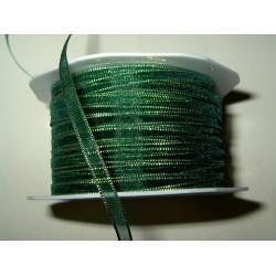 Organzanauha, leveys 5 mm, kultaraita vihreä (2 metriä)