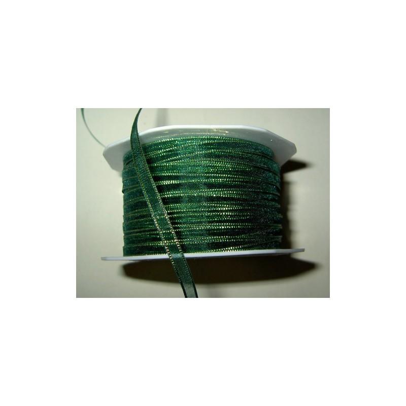 <b> Organzanauha, leveys 5 mm, kultaraita vihreä</b>