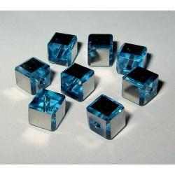 LH metalli, kuutio 6mm, hopeaturkoosi (15 kpl)