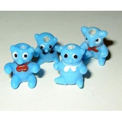 Lasihelmi, nalle sininen (4 kpl)