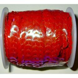 Paljettinauha, punainen, leveys 6 mm (2 metriä)