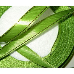<b>Satiininauha, kultaraita vihreä, leveys 10 mm</b>