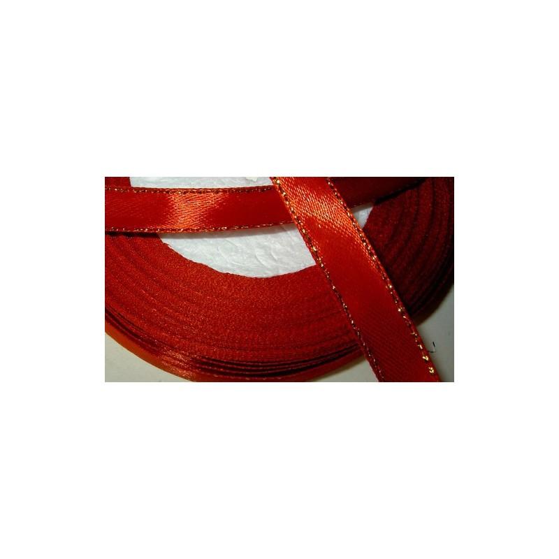 <b>Satiininauha, kultaraita punainen, leveys 10 mm</b>