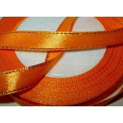 Satiininauha, kultaraita oranssi, leveys 10 mm (2 metriä)