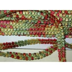 Koristenauha, rokokoo punavihreä, leveys 10 mm