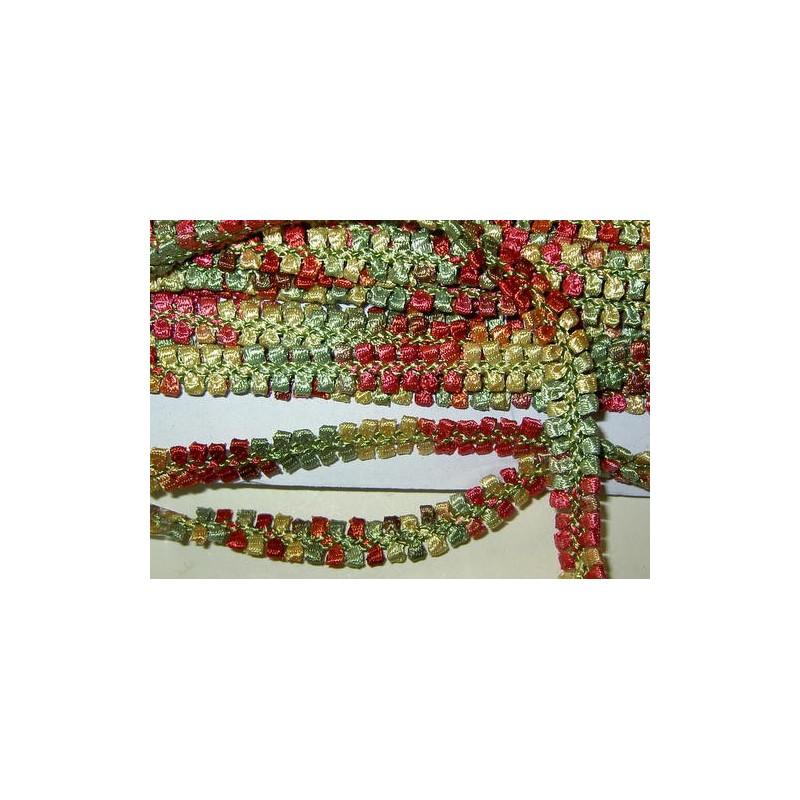 <b>Koristenauha, rokokoo punavihreä, leveys 10 mm</b>