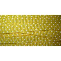 Nauha, polka dot keltainen, leveys 10 mm (2 metriä)